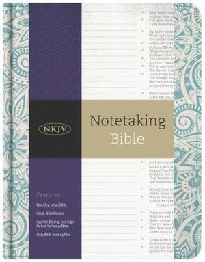 NKJV Notetaking Bible, Blue Floral by Bible (9781433645655) Reformers Bookshop