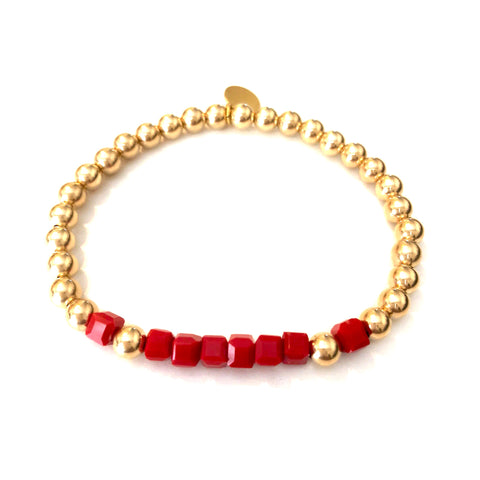 5mm 14kt gold-filled bracelet w/Red Gemstones