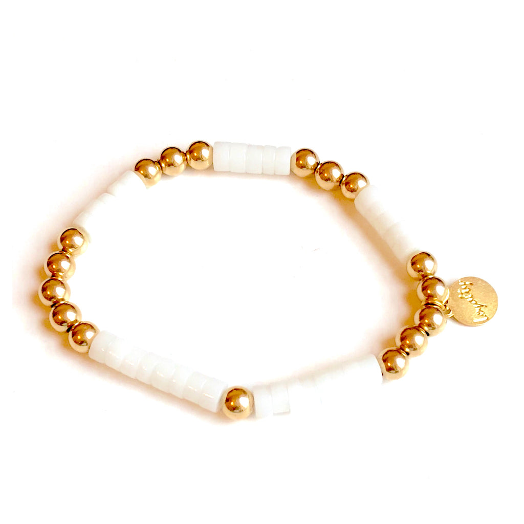5mm 14kt gold-filled bracelet w/White Gemstones