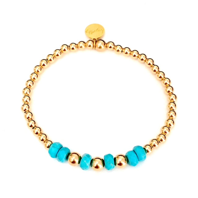 4MM 14kt Gold-Filled bracelet w/Turq Gemstones