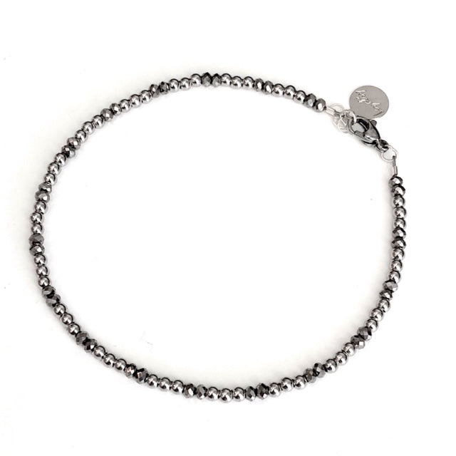 2MM Sterling Silver Anklet w/ Hematite beads