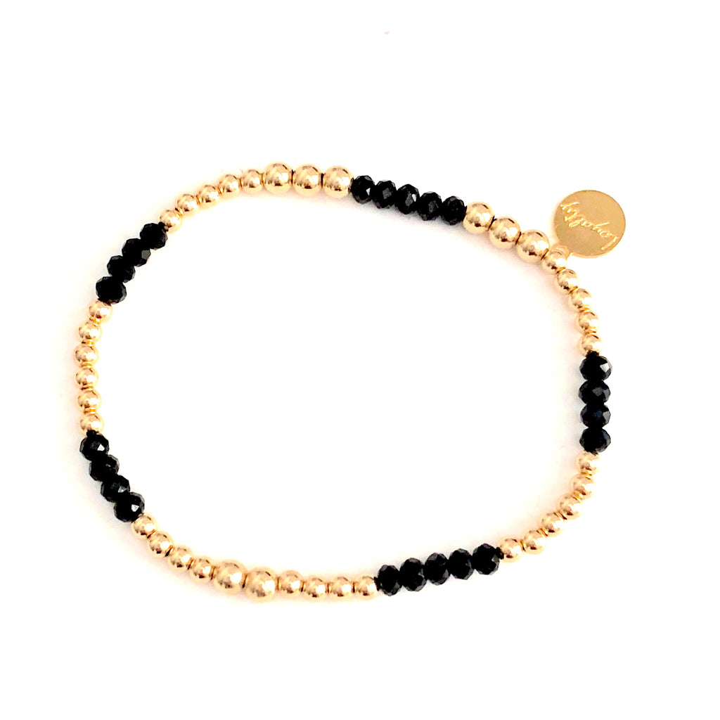 2-3MM 14KT GOLD-FILLED BRACELET W/ONYX BEADS