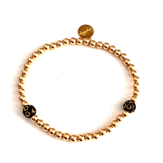 4MM 14KT GOLD-FILLED BRACELET W/BRASS ONYX BEADS