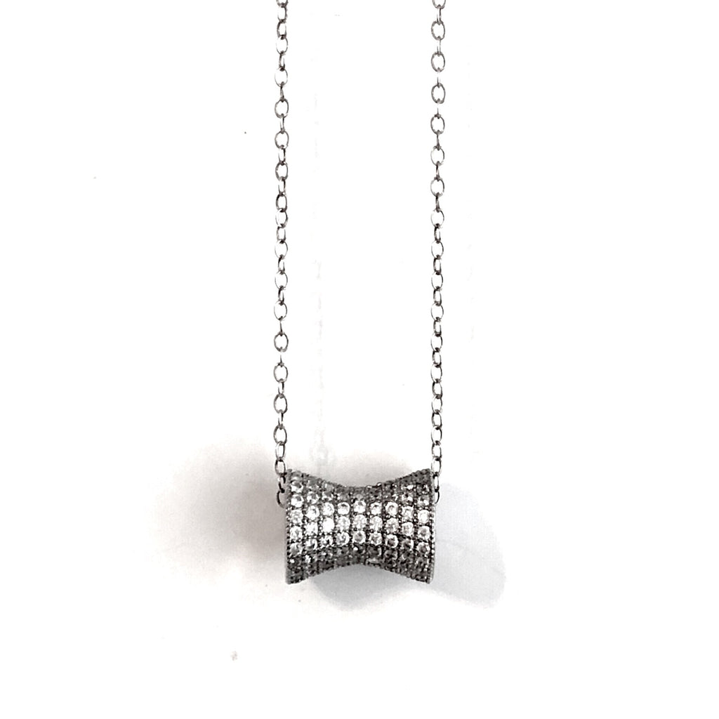 Cz Pave Tube with Sterling silver necklace