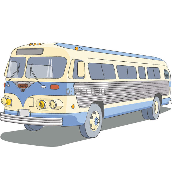 Small Art Print: Vintage Motorcoach Flxible 1955
