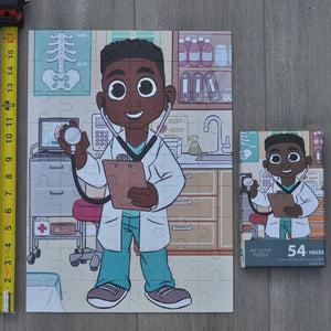 Boy Doctor Puzzle captures a male character showcased as a doctor. Puzzles are great for the development of fine motor skills, imagination, and contextual environments. Each puzzle provides a learning opportunity.