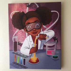 Chemistry Girl (14in x 11in - Canvas Wall Print)