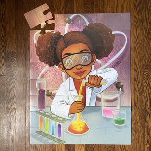 Chemistry Girl Floor Puzzle (23in x 30in w/32 pieces)