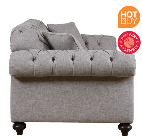 Bordeaux Button Back 3 Seater Grey Fabric Sofa With 2 Accent Pillows