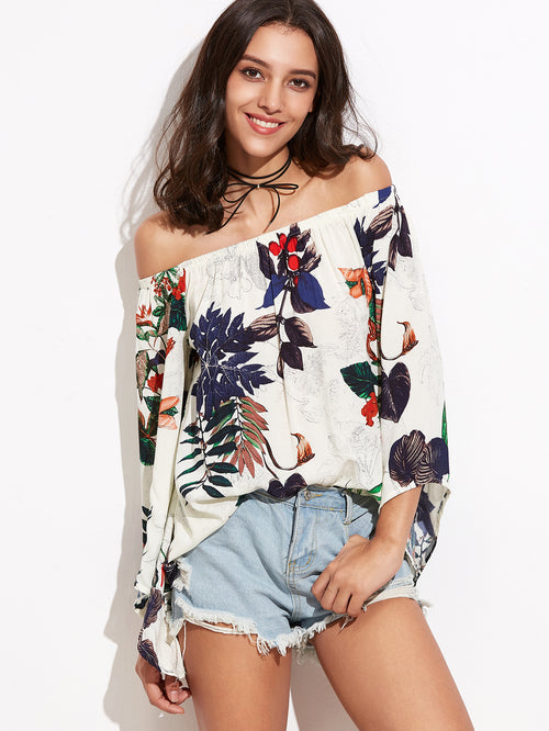 White Tropical Print Off The Shoulder Bell Sleeve, (S,M,L)