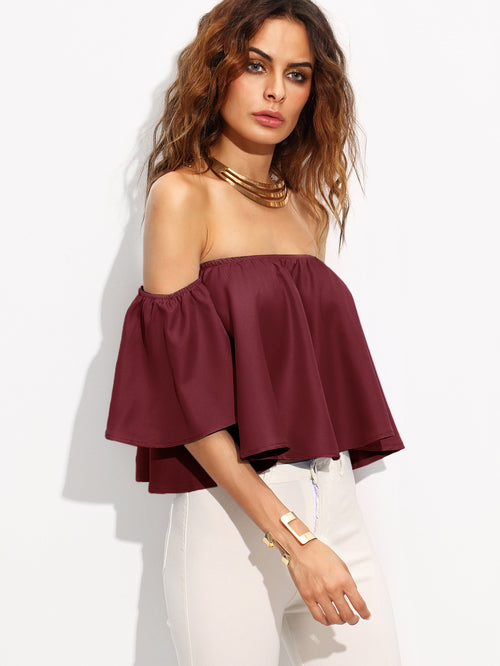 Burgundy Shirred Off The Shoulder Top, (S-XL)