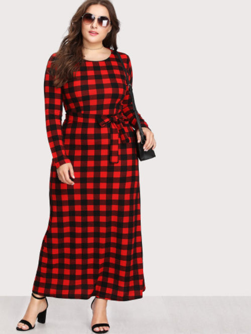 Plus Check Plaid Full Length Dress, (1X-5X)