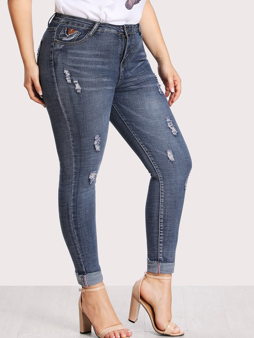 Plus Dual Pocket Back Ripped Jeans, (0XL-3XL)