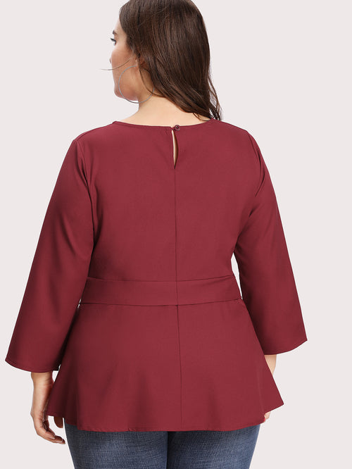 Plus Self Tie Blouse Burgundy, (0XL-4XL)