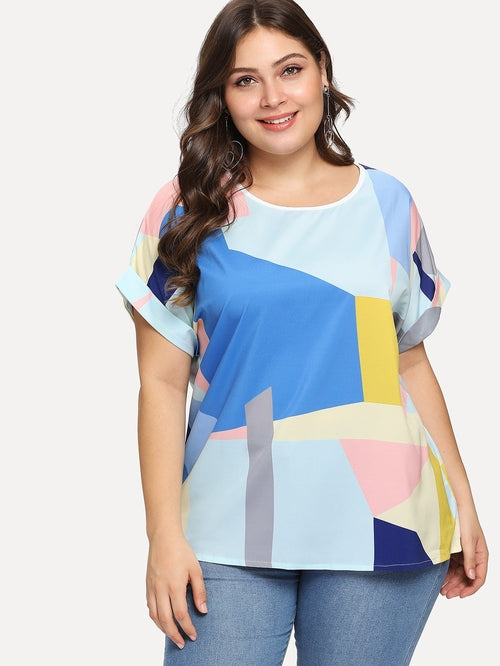 Plus Patchwork Roll Up Sleeve Blouse, (1XL-4XL)