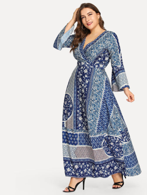Plus All Over Printed Dress Blue Print, (1X-5X)