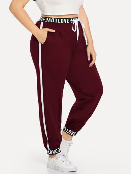 Plus Letter Print Waist Pants Burgundy, (1XL-3XL)
