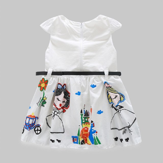 Girls Cute White Cartoon Dress, (4T-7T)