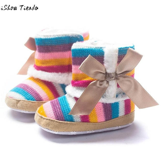 Baby Girl Boots Rainbow Striped Soft, (baby sizes)
