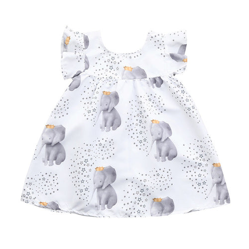 Elephant Design Toddler Baby Dress, (12m-3T)