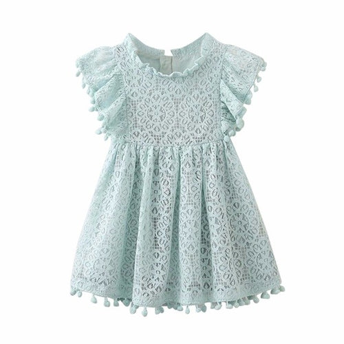 Children's Pink Embroidered Flying Sleeve Cotton Dress, (2T-6)