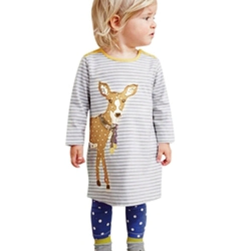 Girls Cartoon Embroidered Long Sleeve Dress