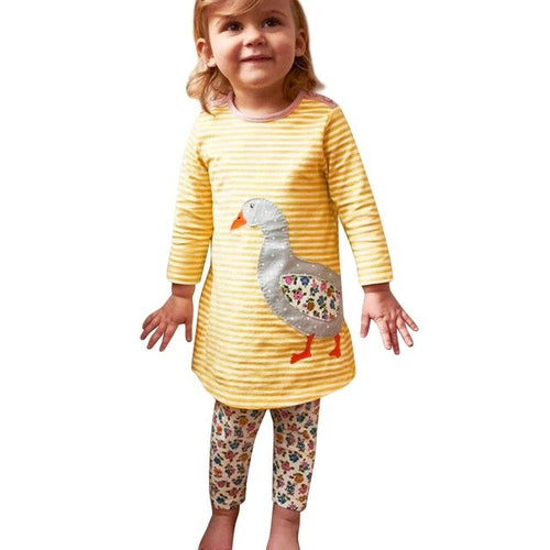 Girls Reindeer Embroidered Long Sleeve Dress, (24m-5T)