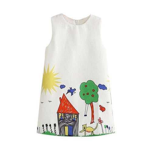 Girls Dress Small Houses Design, (2T-7)