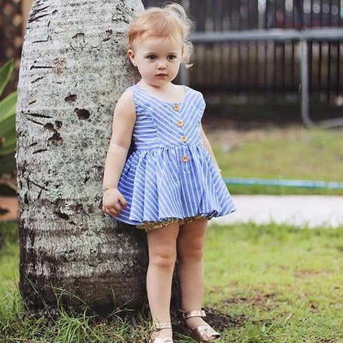 Blue Stripe Dress Baby Girls, (12m-3T)