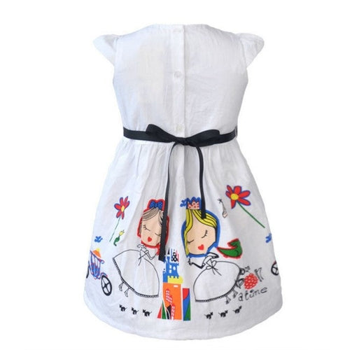 Novelty White Girls Dress Cute Design, (3T-6T)