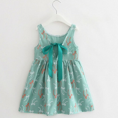 Summer Girl Print Dress Green, (2T-7T)