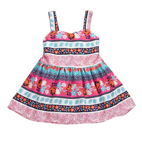 Summer Fashion Girls Retro Print Dress, (12m-5)