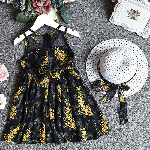 Summer Girls Chiffon Floral Dress Yellow, (2T-6)