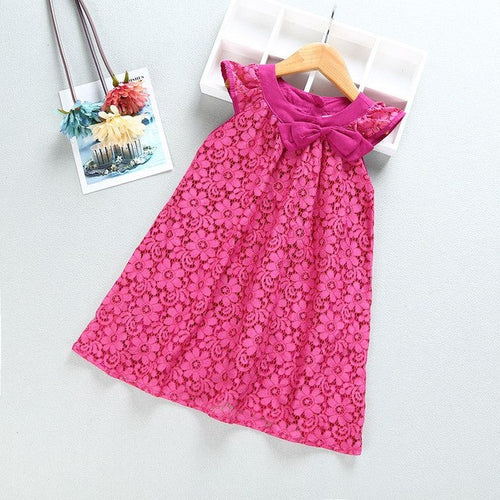 Baby Girl Summer Sleeveless Dress Pink, (2T-6)