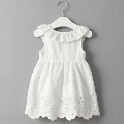 Summer fashion girl bow V open back hollow dress, (2T-7)