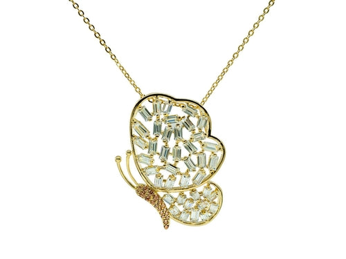 Gold Plated Sterling Silver Sparkling Baguette Butterfly Necklace