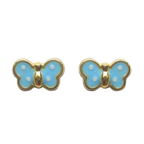 BecKids 18k Gold Baby Blue Butterfly Stud Earrings