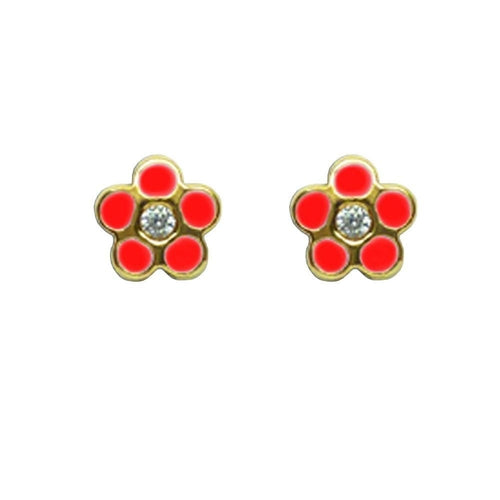 BecKids 18k Gold Sparkling Red Daisy Flower Stud Earrings