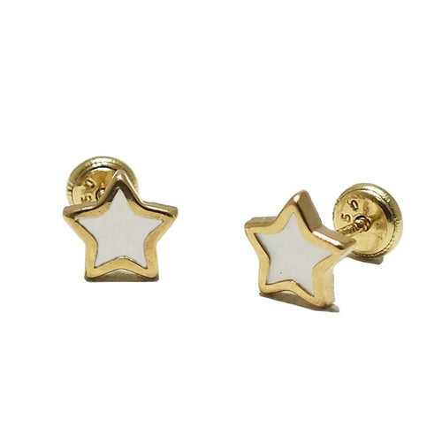 BecKids 14k Gold Mother of Pearl Star Stud Earrings