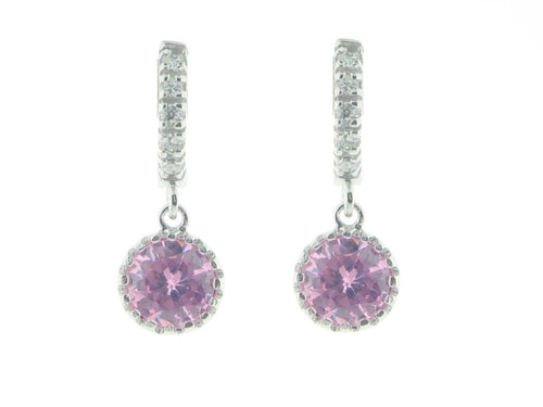 BecKids Sterling Silver Cubic Zirconia Pink Cz Earrings