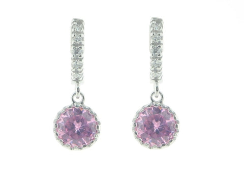 BecKids Girls Sterling Silver Dangling Purple Earrings