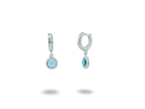 BecKids Blue CZ Huggie Kids Earrings 925 Sterling