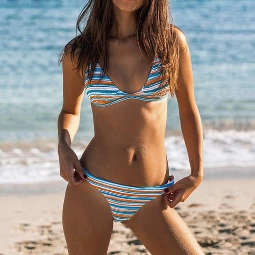 Alluring Bikini Striped Multi Color, (S,M.L)