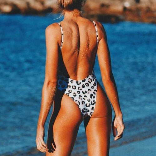 Attractive Sexy White Black Animal Print One Piece Swimwear, (S-XL)