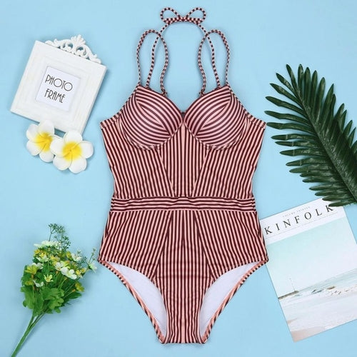 Attractive Sexy Halter Swimsuit Brown Stripe, (SM-XL)