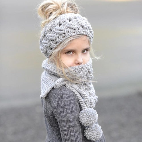 Baby Kids Cap Scarf Winter Wool Knitted Handmade Blue, Grey, (one size)