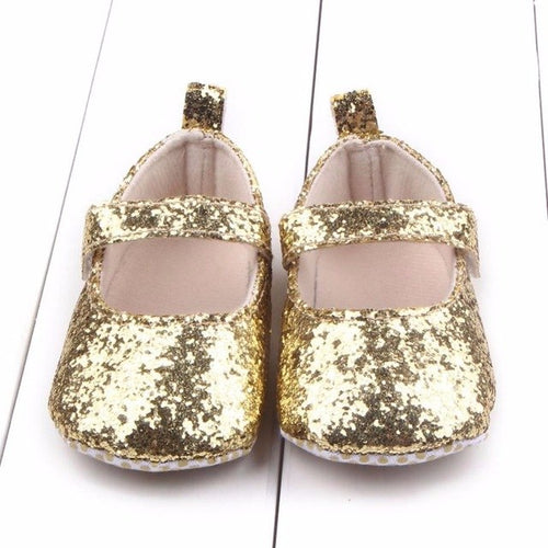 Baby Girl First Walkers Gold Sparkle, (baby sizes)