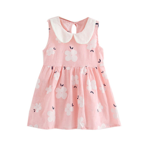 Toddler Girl Summer Dress Sakura Flowers Sleeveless Yellow, (24m-7T)