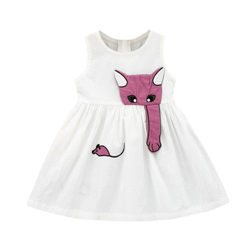 Baby Girls Toddler Dress Cat Mouse, (6m-24m)