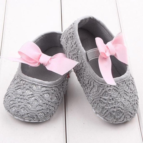 Baby Shoes Sequins Fretwork Floral Princess Grey Pink, (baby sizes)